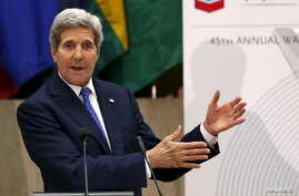 """U.S. Secretary of State John Kerry delivers his remarks at the 45th annual Washington Conference on the Americas on """"U.S. Policy in the Western Hemisphere"""" at the State Department in Washington, April 21, 2015."""
