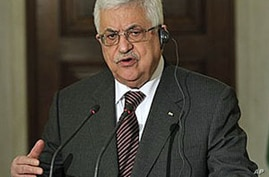 Palestinian President Mahmoud Abbas attends a news conference where he mentions the Mideast peace process, after his meeting with Greek Prime Minister George Papandreou at premier's office in Athens, Dec 8, 2010
