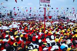 Tens of thousands of supporters of Angola's ruling party gather in the capital, Luanda, ahead of the nation's historic poll: the first without longtime President Jose Eduardo dos Santo, who is preparing to step down after 38 years in power.