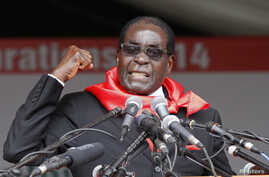 Zimbabwe President Robert Mugabe addresses supporters during celebrations to mark his 90th birthday in Marondera about 80km ( 50 miles) east of the capital Harare, Feb. 23, 2014.  Mugabe turned 90 on February 21.