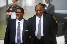 Actor and comedian Bill Cosby arrives with his publicist Andrew Wyatt for jury selection for his sexual assault trial at the Montgomery County Courthouse in Norristown, Pennsylvania, April 4, 2018.