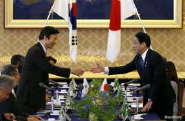 South Korea's Foreign Minister Yun Byung-se (L) reaches out to shake hands with Japan's Foreign Minister Fumio Kishida at the foreign ministry's Iikura guest house in Tokyo, June 21, 2015.