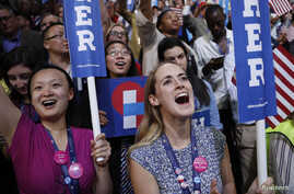 Female delegates cheer as Democratic presidential nominee Hillary Clinton accepts the nomination on the fourth and final night at the Democratic National Convention in Philadelphia, Pennsylvania, July 28, 2016.
