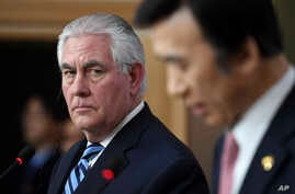 U.S. Secretary of State Rex Tillerson looks on as South Korean Foreign Minister Yun Byung-se speaks during a press conference in Seoul, March 17, 2017.
