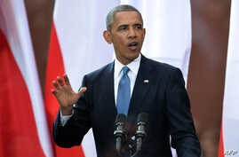 U.S. President Barack Obama delivers a speech during the 25th Anniversary Freedom Day Event in the Royal Square in Warsaw, Poland, June 4, 2014.