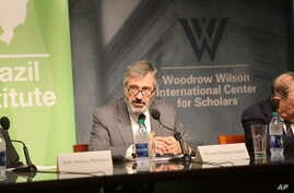 """Brazil's Justice Minister, Torquato Jardim, speaks at event at the Wilson Center,  Washington, DC, on July 19, 2017. Jardim said the Operation Car Wash, which is uncovering corruption in Brazil's federal government, is """"unstoppable."""""""
