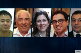 Composite image of five Western-linked detainees held by Iran. From left to right: Xiyue Wang, Baquer Namazi, Nazanin Zaghari-Ratcliffe, Siamak Namazi and Nizar Zakka.