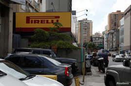 The logo of Pirelli is seen at a tire workshop in Caracas, Venezuela, Aug. 27, 2018.