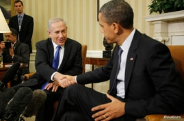U.S. President Barack Obama shakes hands during his meeting with Israel's Prime Minister Benjamin Netanyahu in the Oval Office of the White House in Washington, March 5, 2012