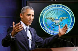 President Barack Obama talks about the war on terrorism and efforts to degrade and destroy the Islamic State group, during a news conference at the Pentagon in Washington, Aug. 4, 2016.