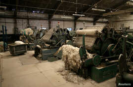 Cotton-sorting machines are seen at a closed-down textile factory in Kaduna, Nigeria, Nov. 3, 2016.