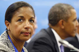 FILE - U.S. National Security Advisor Susan Rice is seen with President Barack Obama in the background.