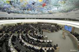 Overview of the U.N. Human Rights Council during the emergency debate on human rights and humanitarian situation in Syria, at the United Nations in Geneva, February 28, 2012.