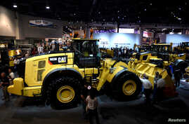 A Caterpillar 982M front-end loader is on display at the Caterpillar booth during the CONEXPO-CON/AGG convention at the Las Vegas Convention Center in Las Vegas, Nevada, March 9, 2017.