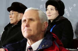 U.S. Vice President Mike Pence, North Korea's nominal head of state Kim Yong Nam, and North Korean leader Kim Jong Un's younger sister Kim Yo Jong attend the Winter Olympics opening ceremony in Pyeongchang, South Korea February 9, 2018.