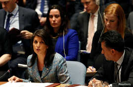FILE - United States Ambassador to the United Nations Nikki Haley addresses the U.N. Security Council on Syria during a meeting of the Council at U.N. headquarters in New York, U.S., March 12, 2018.