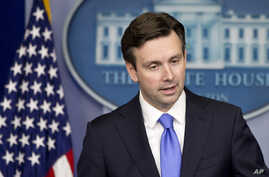 """White House spokesman Josh Earnest talks about the """"depraved decision"""" by Taliban members to attack Pakistani schoolchildren, at the daily White House news briefing in Washington, Dec. 16, 2014."""