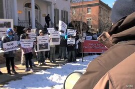 Rohingya Muslims from Burma have staged a brief demonstration outside the Burmese embassy in Washington