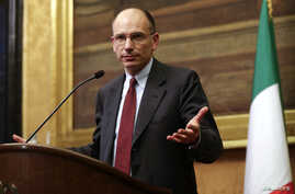 Deputy leader of Italy's center-left Democratic Party (PD) Enrico Letta talks during a news conference at Montecitorio palace in Rome, Apr. 25, 2013.