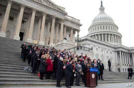 Actress America Ferrera, surrounded by House Democrats and immigration leaders, speaks during a new conference to announce a DemandAVote discharge petition, on the steps of the Capitol in Washington, March 26, 2014.