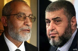 A combo shows Khairat el-Shater (R), then presidential candidate of Egypt's Muslim Brotherhood, holding a press conference in Cairo on April 9, 2012 and Mohammed Badie (L), after he was appointed as the new leader of the Muslim Brotherhood, addressin