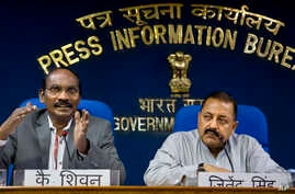 Indian Space Research Organization (ISRO) Chairman K. Sivan, left, and Junior Indian Minister for Department of Atomic Energy and Space Jitendra Singh address a press conference in New Delhi, India, Aug. 28, 2018.