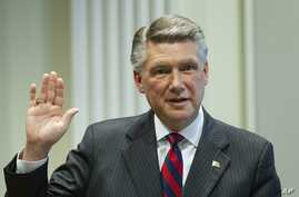 Mark Harris, Republican candidate in North Carolina's 9th Congressional race, prepares to testify during the fourth day of a public evidentiary hearing on the 9th Congressional District voting irregularities investigation, Feb. 21, 2019, at the North...