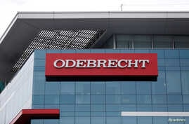 A sign on the offices of the Odebrecht construction conglomerate in Lima, Peru, June 28, 2016.