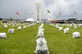 Hundreds of fake money bags representing the donations of companies in election campaigns were distributed in front of the National Congress in Brasilia on March 24, 2015. The protest was organized by the Coalition for Political Reform, a group forme
