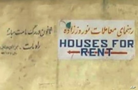 Houses for Rent sign in Kabul, Afghanistan