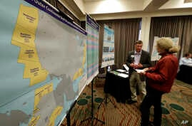 Areas that could potentially be leased for offshore oil and gas drilling are shown in yellow on a map displayed at an open house hosted by the federal Bureau of Ocean Energy Management to provide information and gather public comment on the Trump adm