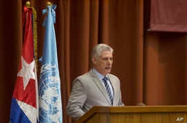 Cuba's President Miguel Diaz-Canel speaks at the opening session of the United Nations Economic Commission for Latin America biennial meeting, in Havana, May 8, 2018.