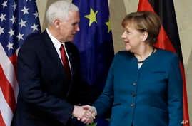 Germany Security ConferenceU.S. Vice President Mike Pence, left, and German Chancellor Angela Merkel meet for bilateral talks on the sidelines of the Munich Security Conference in Munich, Germany, Feb. 18, 2017.