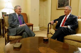 Senate Majority Leader Mitch McConnell of Kentucky, left, meets with Rex Tillerson, on Capitol Hill, Jan. 4, 2017.