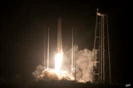 Northrop Grumman Antares rocket lifts off from the launch pad at NASA's Wallops Flight Facility in Wallops Island, Va., Saturday, Nov. 17, 2018. The rocket will deliver supplies to the International Space Station.
