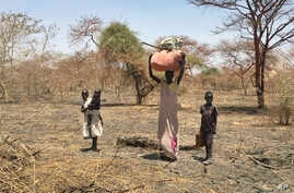 A displaced family carrying their belongings walks in search of refuge towards the village of Aburoc, South Sudan, June 19, 2017.