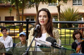 Actress Angelina Jolie speaks to the media after meeting with the British Peace Support Team for East Africa, at the International Peace Support Training Center in Nairobi, Kenya, June 20, 2017.