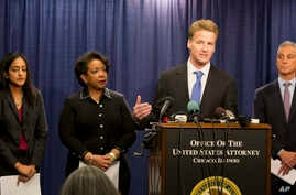 U.S. Attorney Zachary T. Fardon of the Northern District of Illinois speaks during a news conference accompanied by Principal Deputy Assistant Attorney General Vanita Gupta (left) Attorney General Loretta Lynch, and Chicago Mayor Rahm Emanuel, Jan.
