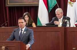 Head of the bid of Budapest for hosting the 2024 Summer Olympic Games Balazs Furjes addresses the General Assembly of the City of Budapest, Hungary, Feb. 22, 2017.