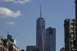 View of Freedom Tower from West Village in lower Manhattan