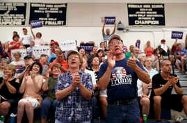 Supporters of Republican presidential candidate Donald Trump cheer during his campaign stop at Windham High School in Windham, N.H., Aug. 6, 2016.