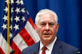Secretary of State Rex Tillerson speaks to staff members at the U.S. Mission to the U.N., Oct. 26, 2017, in Geneva, Switzerland.
