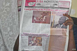 A person reads The Juba Monitor on the day the paper ran the story about the U.N. Mission in South Sudan's (UNMISS) Plan of Action on the Safety of Journalists.South Sudan has agreed to test drive the plan, which calls for defamation to be decriminal