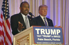 Former Republican presidential candidate Ben Carson speaks after announcing he will endorse Republican presidential candidate Donald Trump, during a news conference at the Mar-A-Lago Club, Friday, March 11, 2016, in Palm Beach, Fla.
