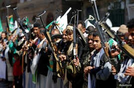 Houthi supporters attend a gathering ahead of the birth anniversary of the Prophet Mohammed in Sanaa, Yemen, Nov. 28, 2017.