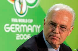 Soccer FIFA Investigation: FILE - In this June 29, 2006 file photo Franz Beckenbauer, then President of the German Organization Committee of the soccer World Cup briefs the media during a news conference at the Olympic Stadium in Berlin.