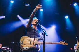 British musician Sting performs on stage at the Bataclan concert hall in Paris, France, in this photo provided by Universal Music France, Nov. 12, 2016.