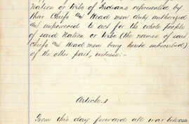 Page one of the U.S. Treaty with the Navajo, written on pages torn from an Army ledger on June 1, 1868 at Fort Sumner, NM.  Courtesy, National Archives, Washington DC.