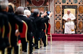 Pope Francis attends an audience with the members of the Diplomatic Corps accredited to the Holy See for the traditional exchange of New Year greetings at the Sala Regia, at the Vatican, Jan. 7, 2019.