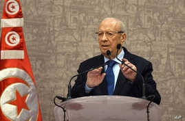 Newly elected Tunisian President Beji Caid Essebsi gives a press conference in Tunis, Wednesday, Dec. 24, 2014.